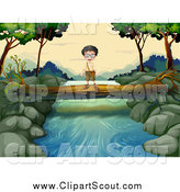 Clipart of a Happy Scout Boy on a Fallen Log over a Stream by Graphics RF