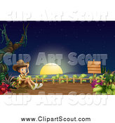 Clipart of a Happy Scout Boy on an Ocean Cliff at Night by Graphics RF