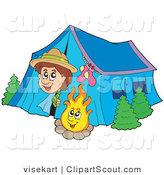 Clipart of a Happy Scout Boy Peeking out of His Tent by a Camp Fire by Visekart