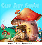 Clipart of a Happy Scout Boy Sitting Against a Mushroom House by Graphics RF