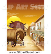 Clipart of a Happy Scout Boy Sitting in a Wagon in a Ghost Town at Sunset by Graphics RF