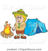 Clipart of a Happy Scout Boy Standing by a Camp Fire by Visekart