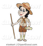 Clipart of a Happy Scout Boy with a Walking Stick by Visekart