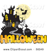Clipart of a Haunted Mansion and Halloween Greeting by Visekart
