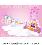 Clipart of a Horse Drawn Carriage and Flying Ponies on a Cloud by a Castle by Pushkin