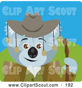 Clipart of a Koala Bear Hiker Character with Cowboy Hat by Dennis Holmes Designs