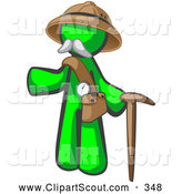 Clipart of a Lime Green Man Explorer with a Pack and Cane on White by Leo Blanchette