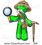Clipart of a Lime Green Man Explorer with a Pack Cane and Magnifying Glass on White by Leo Blanchette
