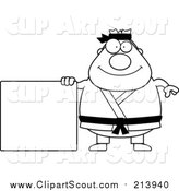 Clipart of a Lineart Chubby Black Belt Karate Man with a Sign by Cory Thoman