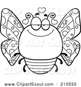 Clipart of a Lineart Chubby Infatuated Butterfly by Cory Thoman
