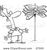 Clipart of a Lineart Man at a Crossroads with a Crazy Sign by Toonaday
