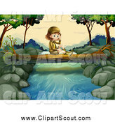 Clipart of a Lone Explorer Girl Sitting on a Log over a River by Graphics RF