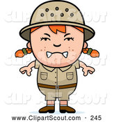 Clipart of a Mad or Angry Red Haired Safari Girl by Cory Thoman