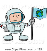 Clipart of a Male Astronaut in a Space Suit, Holding a World Flag and Standing on a Planet, on White by AtStockIllustration