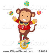 Clipart of a Male Circus Monkey Juggling on a Unicycle by BNP Design Studio