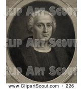 Clipart of a Old Fashioned Portrait of Christopher Columbus Wearing a Fur Trimmed Coat and Facing Front by JVPD