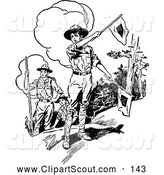 Clipart of a Old Fashioned Retro Vintage Black and White Boy Scouts with Flags by Prawny Vintage