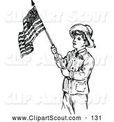 November 14th, 2013: Clipart of a Old Fashioned Retro Vintage Black and White Scout Boy with an American Flag by Prawny Vintage