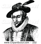 Clipart of a Old Fashioned Vintage Black and White Portrait of Sir Walter Raleigh by Prawny Vintage