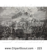 Clipart of a Old Sketch of Christopher Columbus, Pilgrims, Battles and Presidents by JVPD