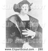 Clipart of a Old Vintage Portrait of Christopher Columbus by Sebastiano Del Piombo by JVPD