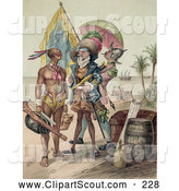 Clipart of a Painting of Christopher Columbus Speaking to a Native Man During the Landing of Columbus at San Salvador in 1492 by JVPD
