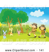 Clipart of a Pair of Children Boy and Girl Scouts and Rabbits by Graphics RF