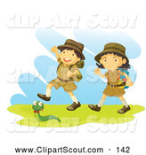 Clipart of a Pair of Children Scouts and a Snake by Graphics RF