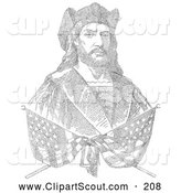 Clipart of a Pair of Crossed Flags over a Bust Portrait of Christopher Columbus Which Is Composed of 41,819 Letters Representing the Biography of Columbus by JVPD