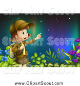 Clipart of a Pointing Explorer Girl Under the Northern Lights by Graphics RF