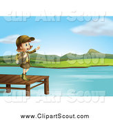 Clipart of a Pointing Girl Scout on a Lake Dock by Graphics RF