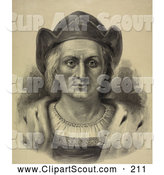Clipart of a Portrait of Christopher Columbus Facing Front and Wearing a Hat - Artwork by JVPD