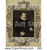 Clipart of a Portrait of Christopher Columbus Seated with an Intricate Frame and Engraving by Dawson, C 1892 by JVPD