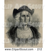 Clipart of a Portrait of Christopher Columbus Wearing a Hat - Artwork by JVPD