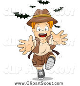Clipart of a Red Haired Caucasian Explorer Boy Running from Bats by BNP Design Studio