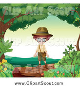 Clipart of a Red Haired Explorer Boy on a Forest Log by Graphics RF