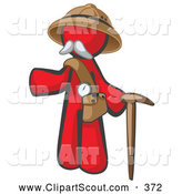 Clipart of a Red Man Safari Explorer with a Pack and Cane by Leo Blanchette