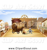 Clipart of a Robot and Explorer Boy in a Western Ghost Town by Graphics RF