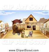 Clipart of a Robot and Scout Girl with a Wagon in a Ghost Town by Graphics RF