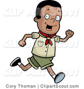 Clipart of a Running Black Cub Scout Boy by Cory Thoman