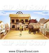 Clipart of a Running Explorer Boy in a Ghost Town by Graphics RF