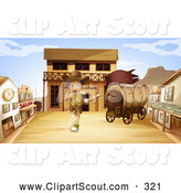 Clipart of a Running Explorer Boy in a Western Ghost Town by Graphics RF