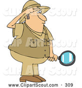 November 21st, 2013: Clipart of a Safari Explorer Man Holding a Magnifying Glass by Djart