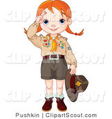 Clipart of a Saluting Scout Girl Holding Her Hat in Her Hand by Pushkin