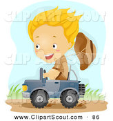 Clipart of a Scout Boy Driving a Tiny Jeep by BNP Design Studio