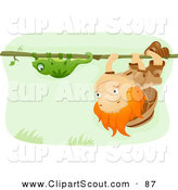 Clipart of a Scout Boy Following a Chameleon on a Vine by BNP Design Studio