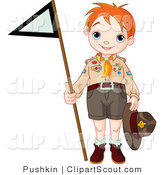 Clipart of a Scout Boy Holding up a Triangular Flag by Pushkin