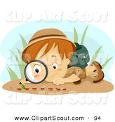 Clipart of a Scout Boy Observing Ants by BNP Design Studio