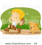Clipart of a Scout Boy Running from a Lion Cub by BNP Design Studio