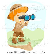 Clipart of a Scout Boy Viewing a Valley Through Binoculars by BNP Design Studio